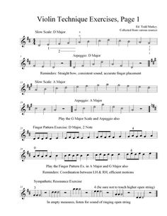 Beginner violin exercises. Will come in handy during my lessons!