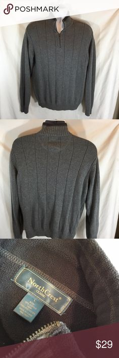 Northcrest North Crest Mens Sz L Gray 1/2 Zip Up Northcrest North Crest Mens Sz L Gray 1/2 Zip Up sweater 100% Cotton Body  RN 56951 Trim 100% Polyester Northcrest Sweaters Zip Up