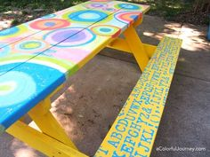 I just couldn't help but paint my picnic table with paint and stencils