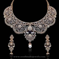 Gold Diamond Bridal Necklae Designs, Indian Bridal Diamond Necklace Designs.