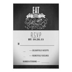 Eat drink and be married wedding RSVP cards Custom Announcements
