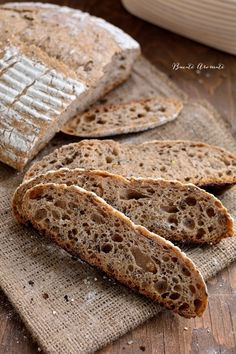 Photo about Artisan sourdough bread cutted in slices on sackcloth. Image of food, domestic, cereal - 104947779 Sourdough Bread, Recipe Images, Bread Recipes, Good Food, Artisan, Food And Drink, Gluten, Meals, Cookies