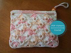 crochet zip pouch pdf pattern,cosmetics make up bag tutorial, money purse, pouch, easy pdf pattern, beginners