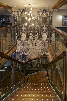 Timorous Beasties' bespoke wallcovering, Colony Palm, will be a key feature of Browns' newly refurbished brasserie and bar chain. Stair Lift, Pub Interior, Timorous Beasties, Contemporary Fabric, Interior Concept, Global Design, Hospitality Design, Design Furniture, Wall Treatments