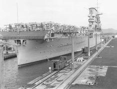 Lexington Class USS Saratoga (CV-3) southbound in the Panama Canal 07 Feb 1928