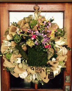 Moss and Burlap Wreath on a Customer's Door!