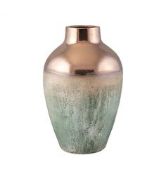 Rustic & Metallic Top Ceramic Vase