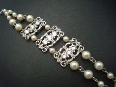 Pearl Rhinestone BraceletBridal Pearl BraceletIvory by DivineJewel