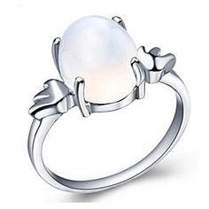 292519eee 3 Carat Moonstone Engagement Ring On Real Silver   Free Stud Earrings