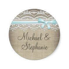 Vintage Lace & Linen Rustic Elegance Wedding Round Stickers