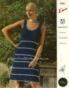 A crochet pattern from the sixties for making a simple and pretty sleeveless dress. This elegant versatile dress is shown here made with sparkly