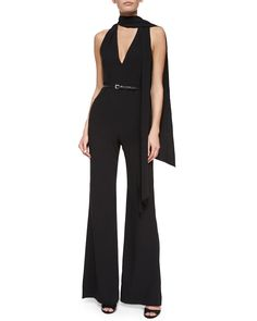 a79ab8ee548 Halston Heritage Sleeveless Belted Flare-Leg Jumpsuit w  Tie Detail
