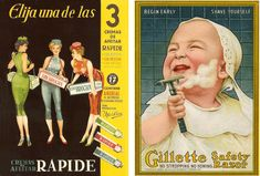 Crema de afeitar Rapide y cuchillas Gillette, años 1950 © Kawaski Taif Vintage Advertisements, Ads, Spanish, Advertising, Google, Advertising Poster, Shaving Cream, Safety Razor, Retro Ads