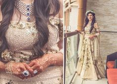 A Chanmpagne colour Lehenga with Gold sequence for the Mehendi ceremony of Real Bride Smridhi of WeddingSutra.