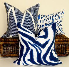 Shabby Chic Decor, Boho Decor, Animal Print Decor, Animal Print Furniture, Blue Pillows, White Cushions, Decor Pillows, Accent Pillows, African Animals