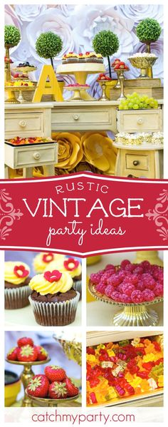 Don't miss this pretty vintage rustic birthday party. The cupcakes are gorgeous!! See more party ideas and share yours at CatchMyParty.com #rustic #vintage