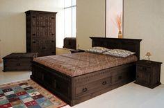 Bett 200 x 200 Schlafzimmer massiv Holz Möbel - dunkelbraun