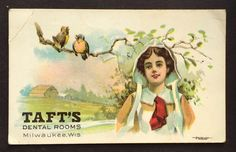 Taft's Dental Rooms Victorian Advertising Trade Card Milwaukee Wis / Birds Farm…
