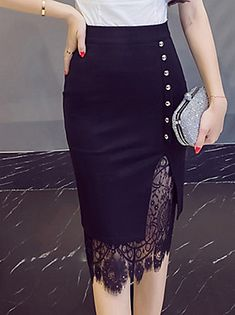 Women's Going out Plus Size Cotton Bodycon Skirts - Solid Colored Lace / Cut Out / Sexy African Fashion Dresses, Fashion Outfits, Fashion Tips, Fashion Design, Fashion 2018, Hijab Fashion, Fashion Brands, Fashion Women, Women's Fashion