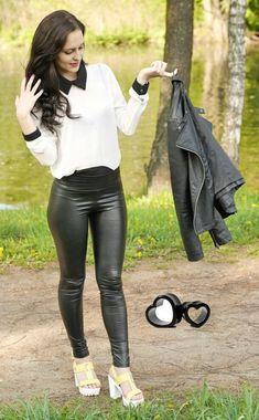 Black leather jacket and leggings