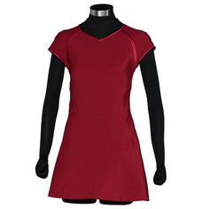 Star Trek: The Movie - Uhura Replica Red Dress | ANOVOS Productions LLC Faithful replica of the dress worn in the Star Trek™ movies directed by J.J. Abrams. Replicated using patterns from screen-used uniforms, dresses are made of Jumbo Spandex featuring intricate Starfleet delta pattern that is printed and dyed to match coloring used by production. Cap sleeves as worn by Uhura.