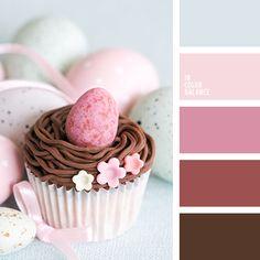 бледно-розовый, бордовый, коричневый, малиновый, оттенки розового, палитра цветов для декора стола в праздник Пасхи, пыльный голубой, розовый, светло-розовый, цветовое сочетание для праздника Пасхи, шоколадный.
