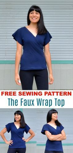 FREE SEWING PATTERN: The Faux Wrap Top Pattern. Learn how to make a great easy knit top for beginners. Step by step sewing tutorial.
