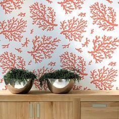Cute inside the closet. Smaller scale also available. Cutting Edge Stencils - Coral Allover Stencil Pattern