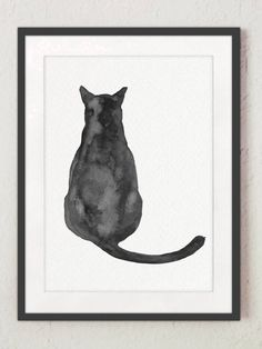 apartment decorating on a budget rustic ; Black Cat Painting, Black Cat Art, Black Cats, Black Cat Drawing, White Kittens, Watercolor Cat, Watercolor Paintings, Cat Art Print, Minimalist Painting