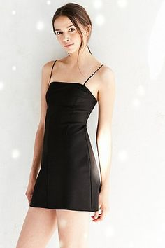 Silence + Noise Audrey Black A-Line Mini Slip Dress