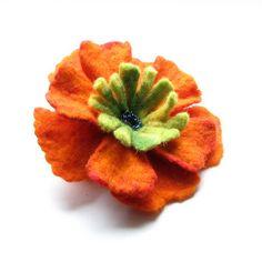 Felted Flower Brooch  ORANGE Brooch   Flower Pin  by AlbadoFashion, $35.00