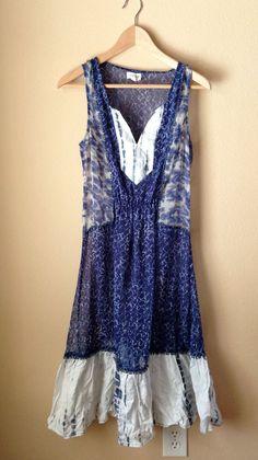f225bff3ae012 $138 Anthropologie Meadow Rue 4 Blue Tie Dye Chiffon Sheer Midi Flare Dress  | eBay
