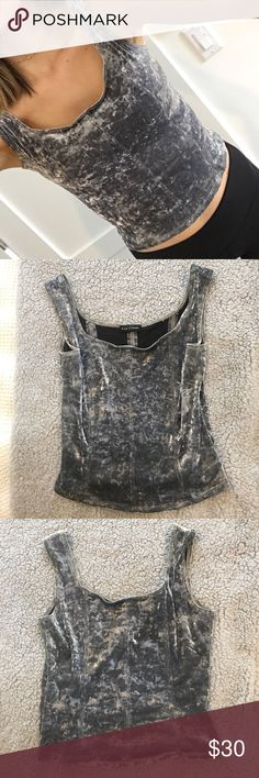 Kay Celine gray velvet top Only worn a couple times no damage except some velvet showing through in inside, it's not from damage I guess it just started to show but no noticeable unless inside out (shown in pic) . So cute on, I love this one. Kay Celine Tops Tank Tops