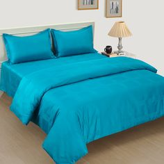 Best Aqua Teal Saffron Premium Bed in a Bag Set Online at flat 30% Off Online at best prices from WoodenStreet. King Size Bed Sheets, Fitted Bed Sheets, Queen Sheets, Bed Sheets Online, Bedding Sets Online, Pillow Covers Online, Wooden Street, Bed In A Bag, Bedding Shop