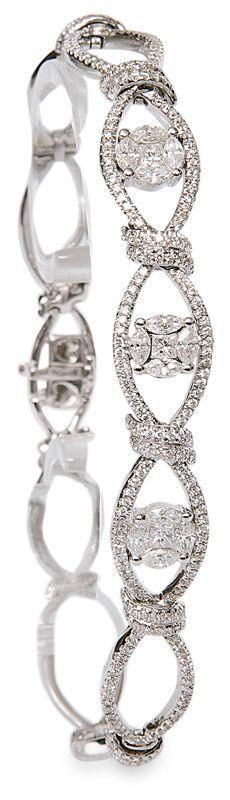 A diamond bracelet  18 ct. white gold. The bracelet with 200 round cut diam., 12 navette diam. and 3 princess diam. in total c. 2,10 ct. #diamondbracelet