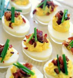bacon and chive deviled eggs via baking bites more food stuff chive ...