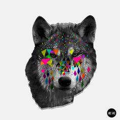 illustration from British graphic designer Kris Tate Graphic Design Illustration, Illustration Art, Collages, Wolf Love, Design Art, Wolf Design, Cool Art, Art Photography, Lion Sculpture