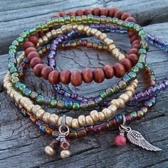 Gypsy Stack Beaded Bracelets with Angel Wing Charm by Angelof2