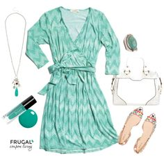 We love this Stitch Fix Outfit featuring a beautiful teal wrap dress.  How about the touch of JULEP Nail Polish and these beautiful flats to top off your look. Polyvore Outfit of the Day on Frugal Coupon Living.