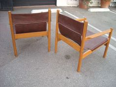 Pair of Michel Arnoult sling leather Safari chairs , Brazil image 3