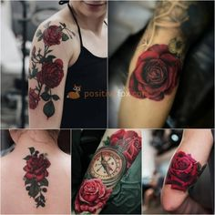 Best Rose Tattoo Ideas - Rose Tattoos Ideas with Meaning Rose tattoos can be large and monochrome, small and bright, simple or complex. No matter which style you choose, rose will reveal your inner & outer beauty. Colorful Rose Tattoos, Coloured Rose Tattoo, Red Flower Tattoos, Rose Tattoos For Women, Tattoos For Women Half Sleeve, Tattoos For Kids, Bicep Tattoo Women, Inner Bicep Tattoo, Inner Peace Tattoos