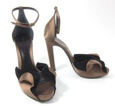 NIB GIORGIO ARMANI Brown Black Satin Suede Peep Toe Heels Sandals Sz 36.5 6.5 at www.ShopLindasStuff.com