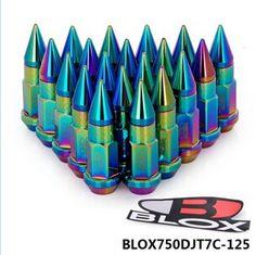 BLOX Neochrome JDM Racing Aluminum Spike Lug nuts 50mm M12x1.25 BLOX750DJT7C-125