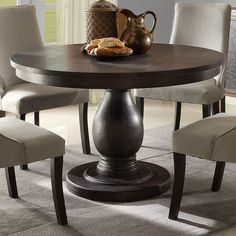 homelegance dandelion round pedestal dining table in distressed taupe - FNALPEV - Home Decor Ideas Dining Room Sets, Dining Room Furniture, Dining Room Table, Furniture Showroom, Modern Furniture, Office Furniture, Round Pedestal Dining Table, Round Table With Chairs, Round Kitchen Tables