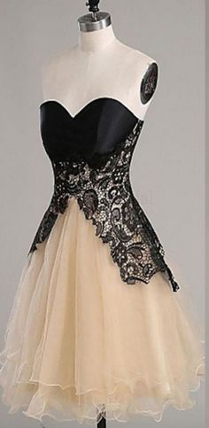Lace Homecoming Dresses, Champagne Organza Homecoming Dresses, Lace