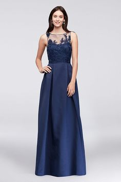 An elegant illusion bodice is topped with floral appliques on this floor-length, structured faille bridesmaid dress. A keyhole back and side pockets are thoughtful finishing touches. From Oleg Cassini