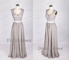 Newest Grey Long Lace Bridesmaid Dress/A Line Chiffon Prom Dress/Wedding Party Dresses/Cap Sleeve Floor Length Bridesmaid Dress DH218 on Etsy, £63.16