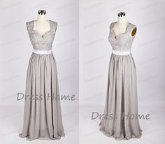 Newest 2015 Silver Grey Long Lace Bridesmaid Dress/A by DressHome