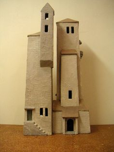 Ria van Lanen - HUIZEN II Clay Houses, Ceramic Houses, Miniature Houses, Model Castle, Cardboard City, Wal Art, Pottery Houses, Architecture Concept Drawings, Doll House Crafts