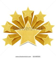 star recycled paper stick on white background - stock photo